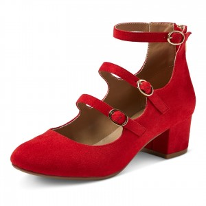 Red Round Toe Block Heels Buckles Mary Jane Pumps