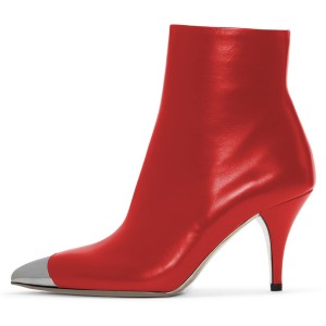 Red Vegan Boots Silver Metal Pointy Toe Chunky Heel Ankle Booties