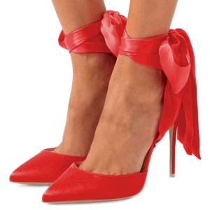 Red Satin Ankle Strap Tie Stiletto Heels Pumps
