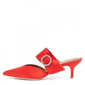 Red Satin Buckle Kitten Heels Mule