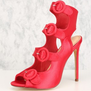 Red Satin Buckles Stiletto Heel Summer Boots
