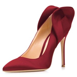 Burgundy Satin Pron Shoes Pointy Toe Stiletto Heel Pumps