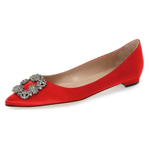 Red Satin Rhinestone Comfortable Flats