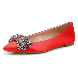 Red Satin Rhinestones Pointy Toe Comfortable Flats