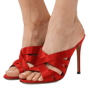 Red Satin Strappy Mules