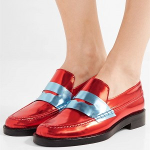 Red Shiny Vegan Leather Trending Flat Penny Loafers for Women