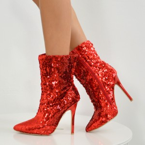Red Sequined Stiletto Heel Fashion Boots