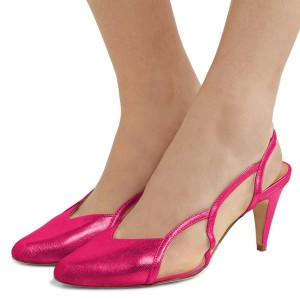 Hot Pink Slingback Shoes Mesh Cone heel Pumps