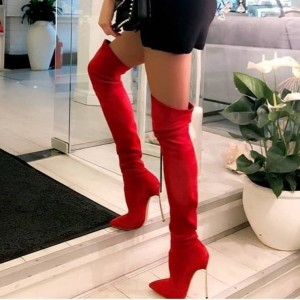 Red Stiletto Heel Pointy Toe Thigh High Heel Boots
