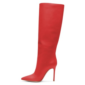 Red Stiletto Heels Knee-high Heeled Boots