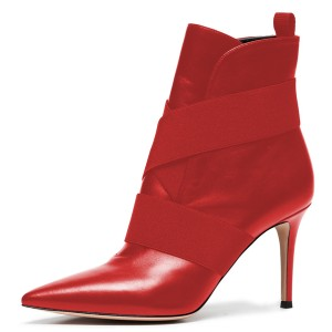 Red Straps Pointy Toe Stiletto Heel Ankle Booties