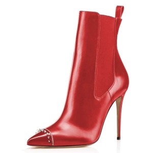 Red Studded Pointy Toe Stiletto Boots Fashion Ankle Booties