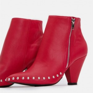 Red Studs Cone Heel Boots Ankle Booties