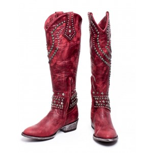 Red Studs Cowgirl Boots Block Heel Knee High Boots