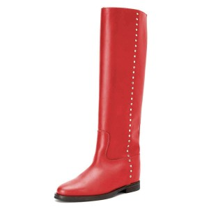 Red Studs Flat Long Boots Knee High Boots