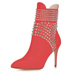 Red Studs Shoes Stiletto Heel Ankle Boots