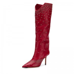 Red Studs Stiletto Boots Pointed Toe Knee High Boots