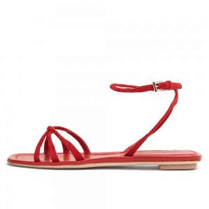 Red Suede Ankle Strap Flat Sandals