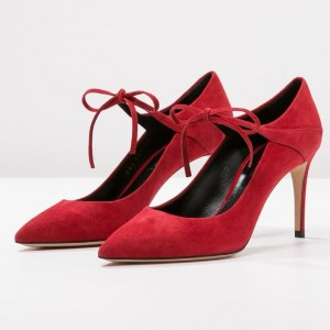 Red Suede Ankle Strap Heels Pointed Toe Stiletto Heels Pumps