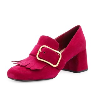 Red Suede Block Heel Fringe Buckle Loafers for Women