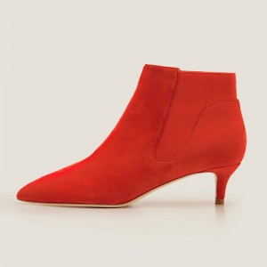 Red Suede Boots Stiletto Heel Pointed Toe Ankle Boots