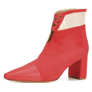 Red Suede Chunky Heel Boots Ankle Boots