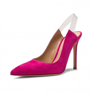 Hot Pink Suede Clear Slingback Heels Pumps