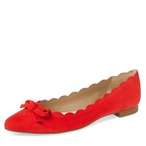Red Suede Curvy Bow Comfortable Flats
