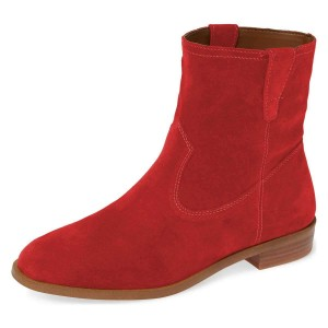 Red Suede Flat Ankle Booties