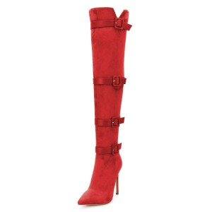 Red Suede Four Straps Pointy Toe Stiletto Boots Over-the-knee Boots