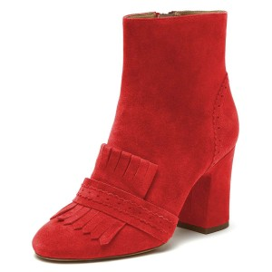 Red Suede Fringe Chunky Heel Boots