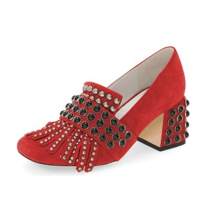 Red Suede Fringe Studs Block Heels Pumps