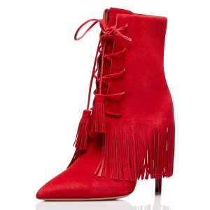 Red Suede Lace Up Fringe Boots Stiletto Heel Ankle Boots