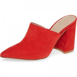 Red Suede Loafer Mules Pointed Toe Chunky Heel Mule