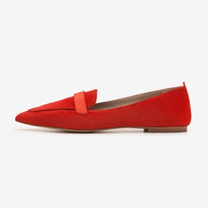 Red Suede Loafers for Women Pointy Toe Flats