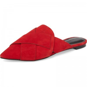 Red Suede Loafer Mules Pointed Toe Flat Mule