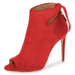 Red Suede Peep Toe Cut Out Bow Stiletto Heel Ankle Booties