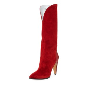 Red Western Boots Pointy Toe Cone Heel Suede Knee Boots