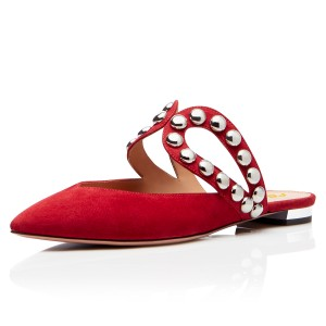 Red Suede Pointy Toe Studs Mules