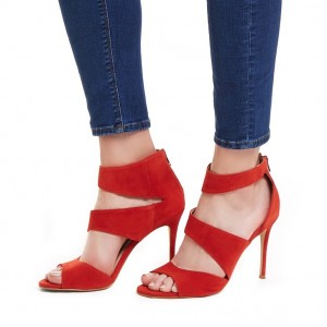 Red Suede Stiletto Heels Peep Toe Ankle Strap Sandals
