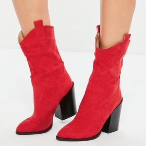Red Suede Western Boots Block Heel Mid Calf Boots
