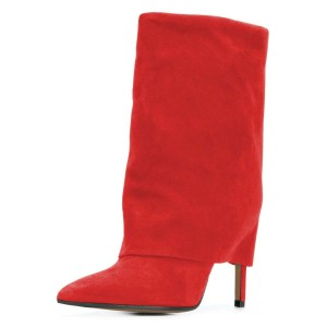 Red Suede Wrapped Stiletto Heel Ankle Booties