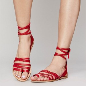 Red Summer Beach Sandals Open Toe Flats Strappy Sandals