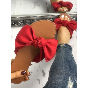 Red Summer Women's Slide Sandals Open Toe Flats with Bow