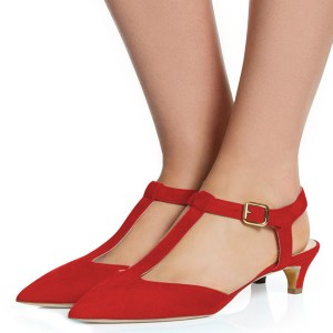 Red T Strap Heels Pointy Toe Slingback Kitten Heel Pumps