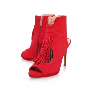 Red Fringe Summer Boots Cut out Peep Toe Suede Slingback Shoes