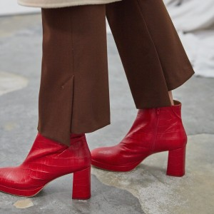 Red Textured Vegan Leather Chunky Heel Boots Round Toe Ankle Boots