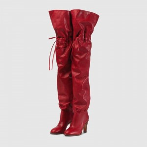 Red Tie Fashion Boots Chunky Heel Over-the-knee Boots