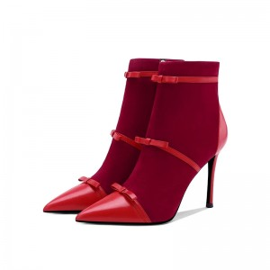 Red Tri Straps Fashion Boots Stiletto Heel Ankle Boots