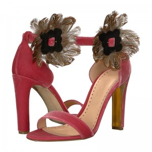 Red Velvet Feather Chunky Heel Ankle Strap Sandals